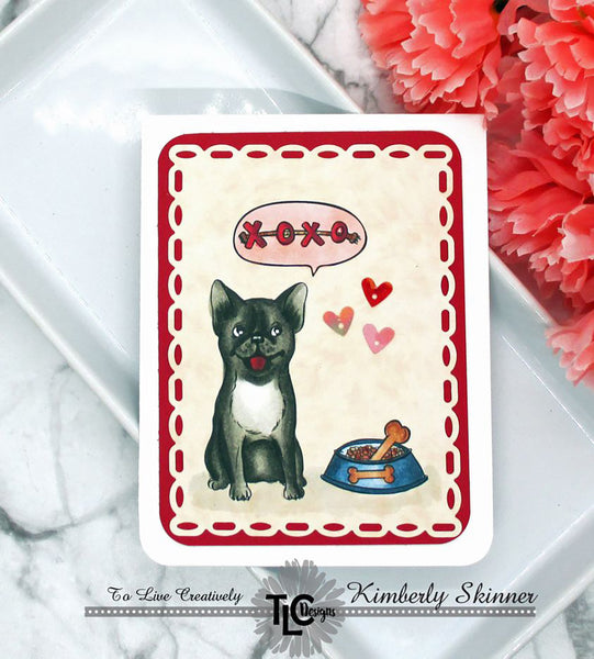 The perfect example and inspiration for you next card project for the dog lover in your circle!  The Posh Pups digital stamp set from TLCDesigns.shop is going to make your head spin with ideas of how to color the fun little Pups with loads of little additional items to make your scene fun and interesting!