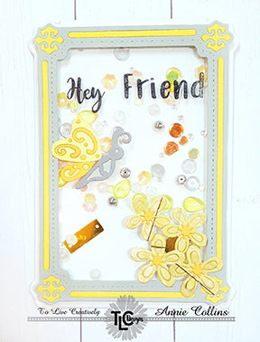 Shaker card heaven in yellows and greytone papers! Using the Butterfly Rectangle die set from TLCDesigns.shop
