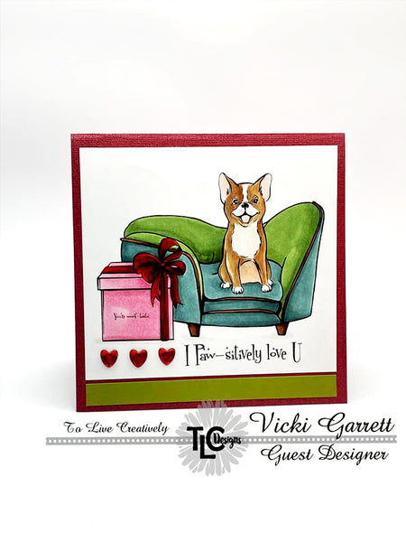 This little Posh Pup stamp of the English bulldog couldn't be any cuter on the greeting that is Paw-sitively adorable!  TLCDesigns.shop