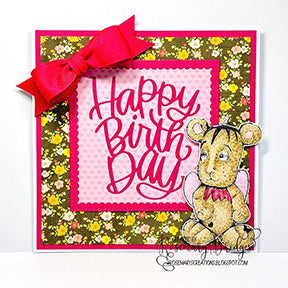 The Jazz digi stamp is as cuddly as a real teddy bear in the Happy Birthday card project for TLCDesigns.shop