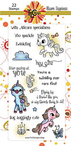 Three adorable Alicorn stamps, 10 sentiment stamps and loads of embellie stamps included in the 22 stamp paper crafting product from TLCDesigns.shop
