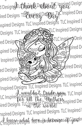 This is the watermarked image of a digital stamp called Blessings from TLCDesigns.shop