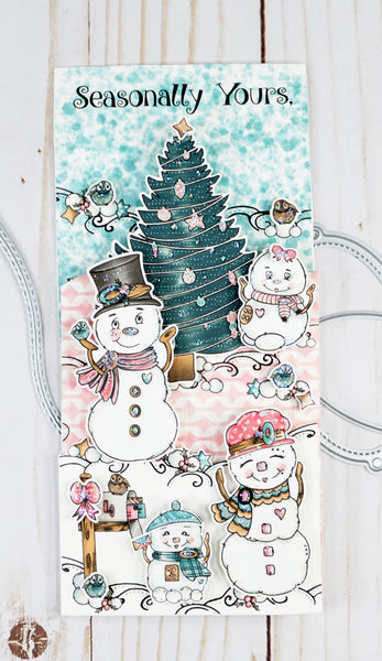 Slimline greeting holiday heaven with the cutest Snow Family Tree digital stamp set placed at all levels and layers of this greeting gift card inclusive project from TLCDesigns.shop