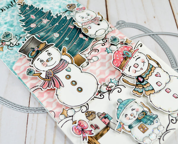 Close up glitter revealed of the Snow Family Fun precolored digital stamp set from TLCDesigns.shop.  It's the greeting that keeps on giving with a gift card holder inside!