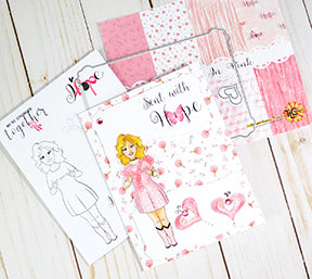 What a pink handful of delightful hope for the October Breast Cancer Awareness cause!  TLC Designs.shop has designed a free adorable stamp set and even a coordinated paper pack that when purchased, will provide 100% of all proceeds on this product for research!  Let's Hope together shall we?