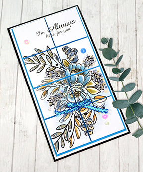 It's a slimline card made with the Happy Bouquet digi stamp available at TLCDesigns.shop made one square at a time with 1/8 inch gap between sections to offset and pop up the artwork