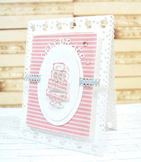 The Celebrate Frame die set from TLCDesigns.shop can make your next Birthday celebration card into an intricately cut card full of cupcakes and ribbons with the products in the die set!