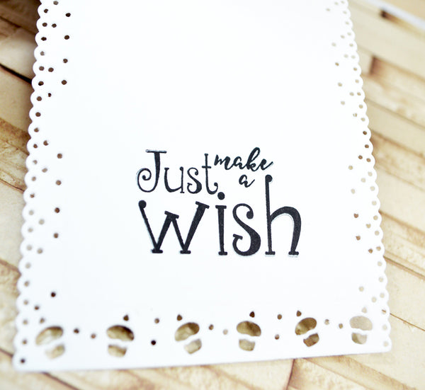 inside this project, the stamped sentiment included in the Celebrate stamp set from TLCDesigns.shop is beautifully done! It's Just make a WISH!