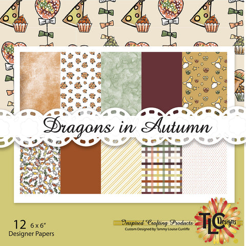 Dragons In Autumn Digital Paper Pack