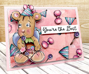 This greeting card is just the sweetest shaker ever! The Jazz digi stamp available at TLCDesigns.shop has a full belly of sequins. He's popped up and combined with the coordinating designer paper! It's so cute in pinks and purples!