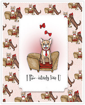 Digital stamps is where it's at these days!  Instant gratification, inexpensive and no storage either!  Can't beat the price of the Posh Pups digital stamp set shown here with the coordinating design papers to make an easy and quick greeting card for the doggy lover in your life!