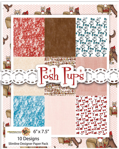 "It's Posh Puppy time at TLCDesigns.shop!  Perfectly coordinated digital papers with 10 different designs in the new all purpose size!  Love A2? Create in 6"" x 6""?  Or do you love the Slimline?  This paper pack will do it all!  The coordinated Posh Pups digital stamp set will get the creative wheels turning when you create with both the stamps and the papers!"