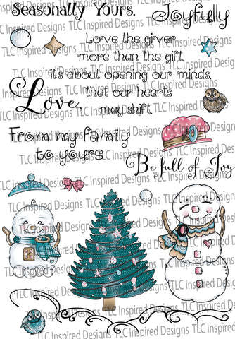 Snow Family Fun Tree Pre-colored Digital Stamp Set