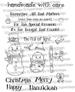 Snow Family Fun Mail digital stamp set for paper crafting at TLC Designs