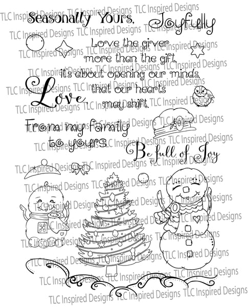 TLC Designs paper crafting digital stamps for the Christmas Holiday.  18 stamps from Snow people, trees, wildlife and sentiments too.