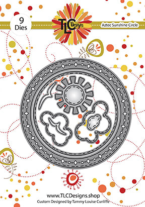 The papercrafting metal die called Aztec Sunshine Circle from TLCDesigns has a beautifully filled ornate decor around the circle that will make your project pop. All nine dies used together or the clouds and sun in any scene build on a project will make it shine!
