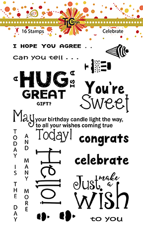 This is a png of the backer card for the Celebrate 16 piece stamp set from TlCDesigns.shop
