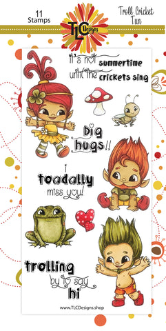Let your Troll stamps play with the Cricket!  It's all about the fun! The 11 piece Polymer Stamps from TLCDesigns.shop help yo to say; Toadally Miss you, Big Hugs or Trolling by to say hi!  Perfect for your next greeting card project!