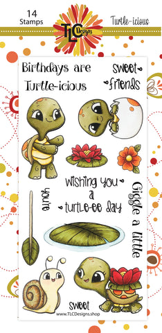 Ever seen a polymer stamp set you just find irresistable?  The Turtle-icious 14 piece stamp set from TLCDesigns.shop is one of those for sure!  One of them are rowing thru the water on a lily pad with a leaf twig for a paddle, there is an adorable turtle baby inside an egg, and then there is a turtle dressed up in a waterlily jacket walking towards his snail friend.  Endless amounts of greeting cards to be designed with this adorable set!