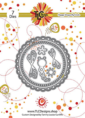 this is the backer card for a 7 piece die set called Happy Dragonfly Circle from TLCDesigns.shop