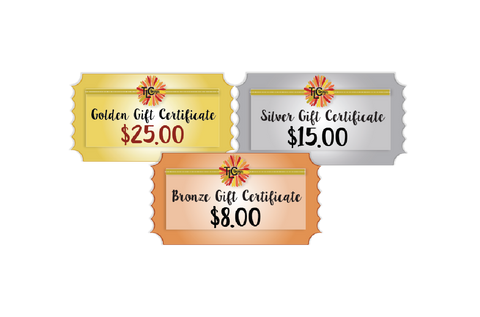 This is a PNG of the Gift Certificates available for purchase at TLCDesigns.shop