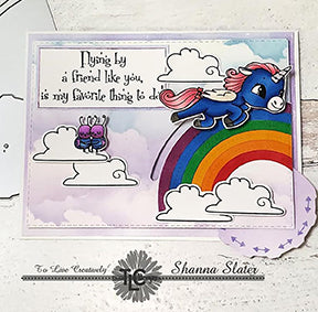 Flying by a friend like you is my favorite thing to do! That's the sentiment on the interactive card project by Shanna Slater from TLCDesigns.shop. The flying Alicorn illustration is flying over an adorable rainbow with the Double Dial Die 1 die product. It's Rainbow heaven!