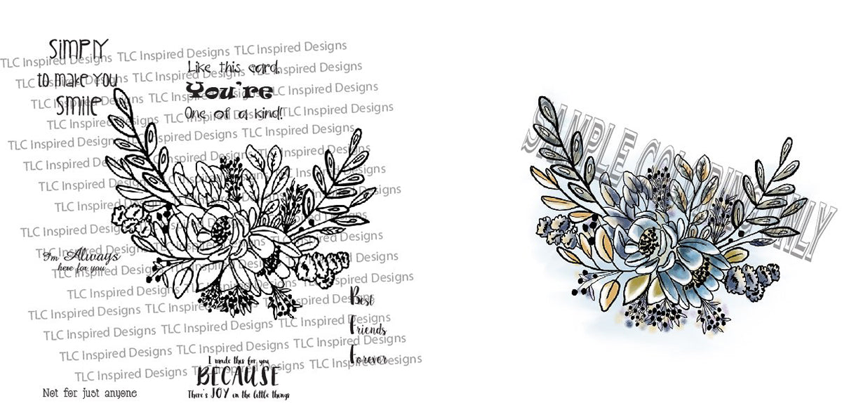 this is a watermarked png of the Happy Bouquet digital stamp available at TLCDesigns.shop with sentiments