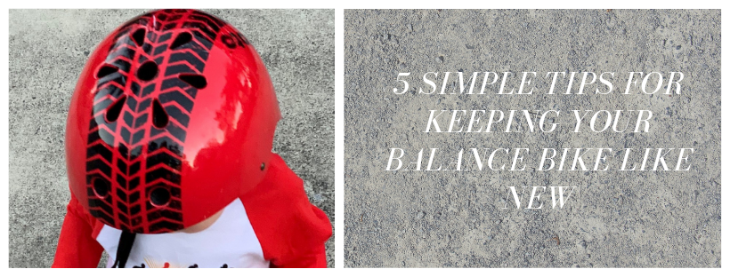 "A photo of a young boy with a Red Tyre helmet and a Kiddimoto Evolution shirt on, with a caption that reads ""5 Simple Tips For Keeping Your Balance Bike Like New"""