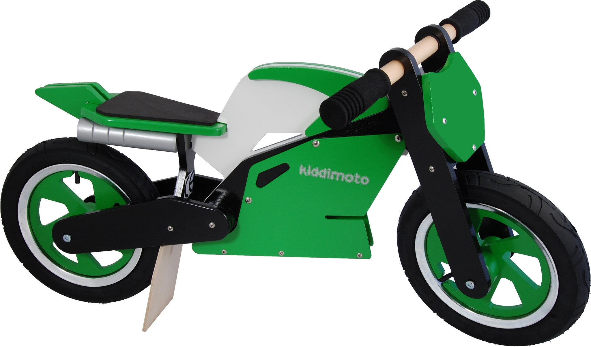 A photo of our Green Superbike, with a lightweight timber frame, a motorbike styled seat and wooden spinning handlebars, and motorbike style rims