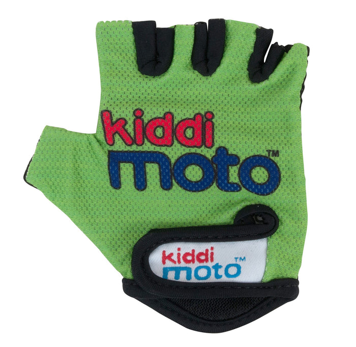 Our Green Kiddimoto Gloves are a light green, lightweight and fingerless design, wth the Kiddimoto logo printed on the back of the palms