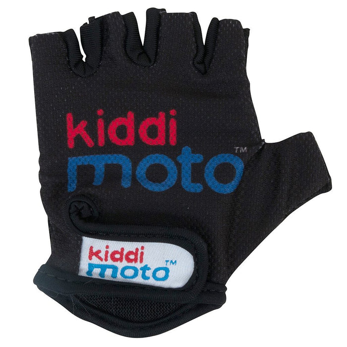 A single black fingerless glove, with our Kiddimoto logo printed on to the back of the palm