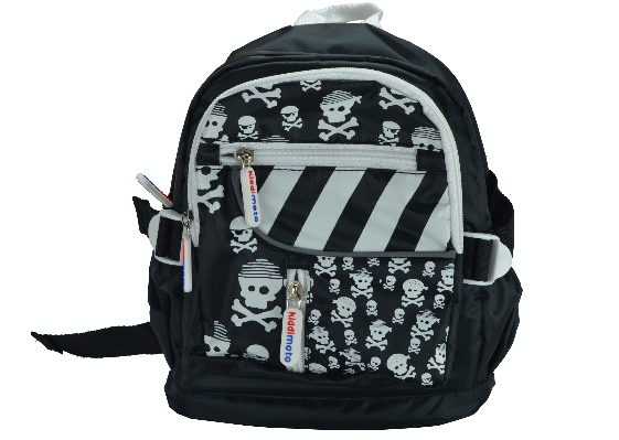 Our Skull & Bones mini backpacks are black, with white lining. The front of the backpack has white cartoon skulls and crossbones printed all over it, with a funky black and white stripe over one of the top pockets. The zippers have the Kiddimoto logo on them
