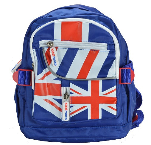 Our Union Jack mini backpacks are deep blue, with white lining. The front of the backpack has the Union Jack printed all over it, with funky red, blue, and white stripes over one of the top pockets. The zippers have the Kiddimoto logo on them