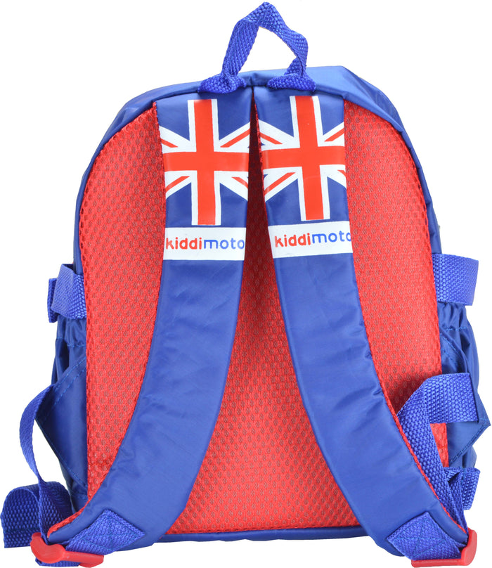 Our Union Jack mini backpacks have red mesh on the back for breathability, and the shoulder straps have the Union Jack design on them with the Kiddimoto logo