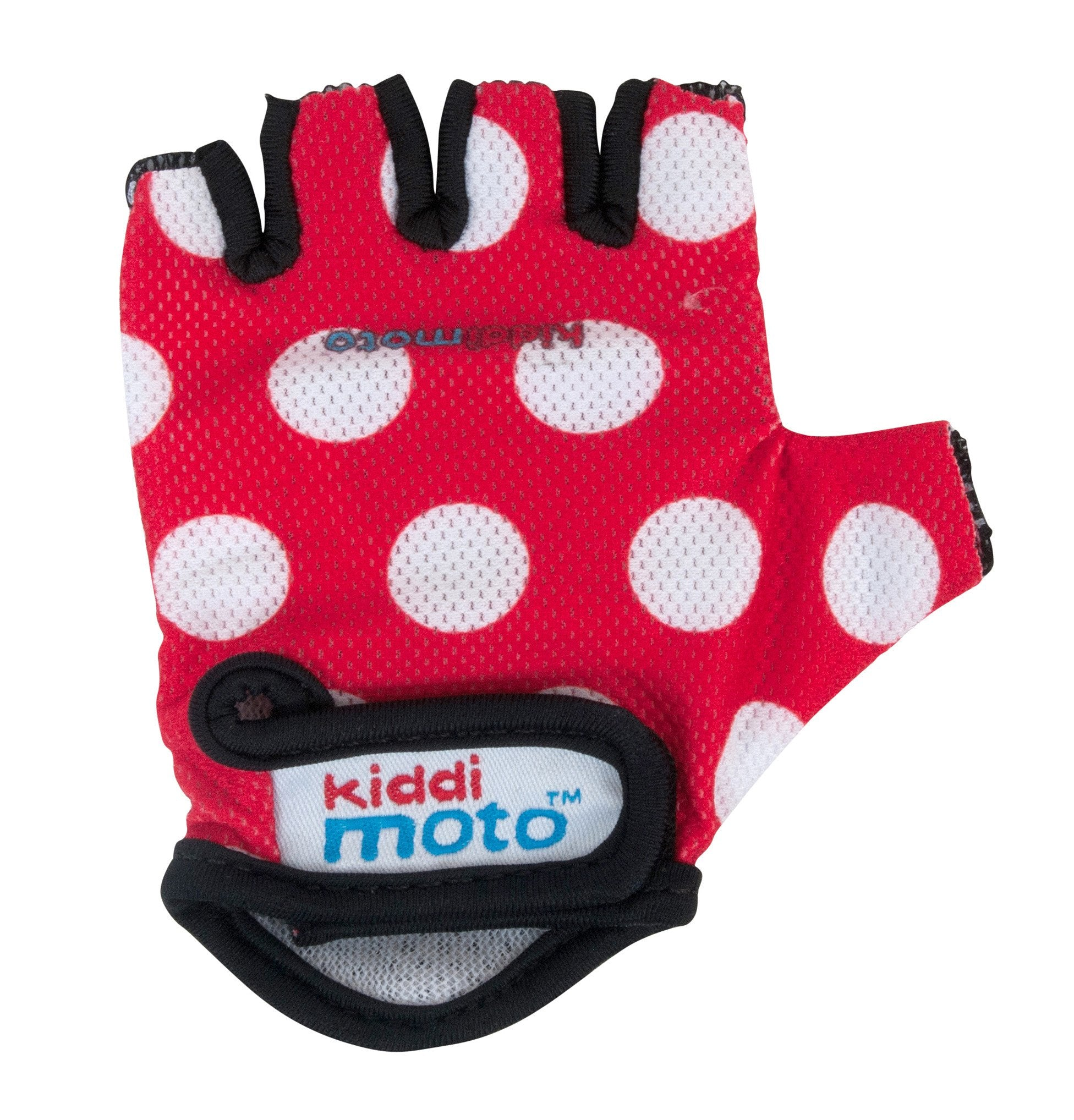 Our Red Dotty gloves are lightweight and fingerless, with a white polka dot design over a red background