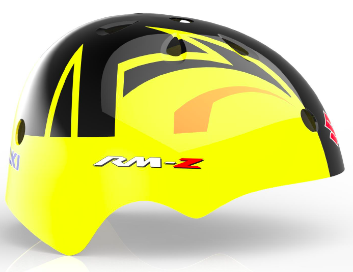 Our Suzuki RMZ Offroad helmet is a bright yellow, with orange and black lines in the middle