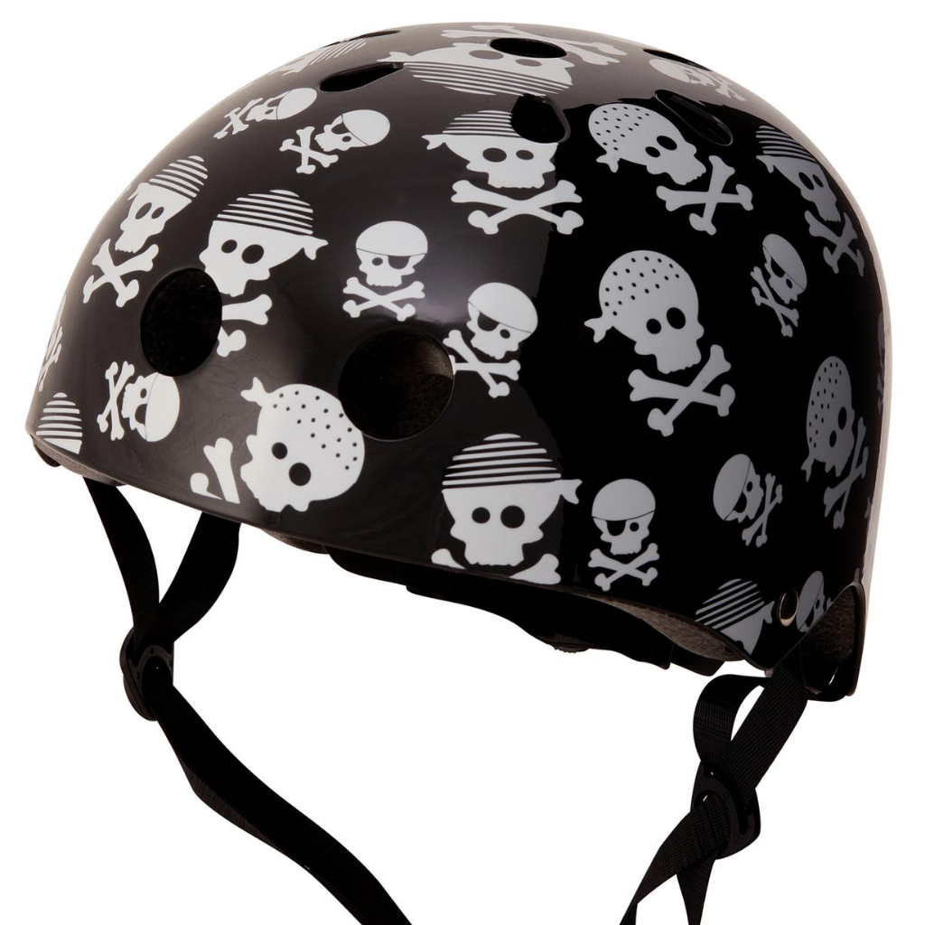 A photo of our Skull & Bones helmet, with a black base and chrome cartoon styled skulls and crossbones