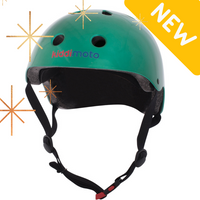 "Our Metallic Jade Green helmet, with a graphic in the corner that reads ""new"". This image also has graphic sparkles on it as well"