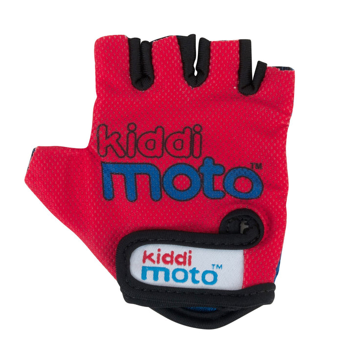Our Red gloves are lightweight and fingerless, with the Kiddimoto logo on a red background