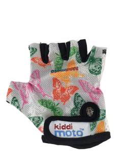 A photo of our fingerless, lightweight Butterfly gloves, with red, orange, pink and green butterflies on a white background