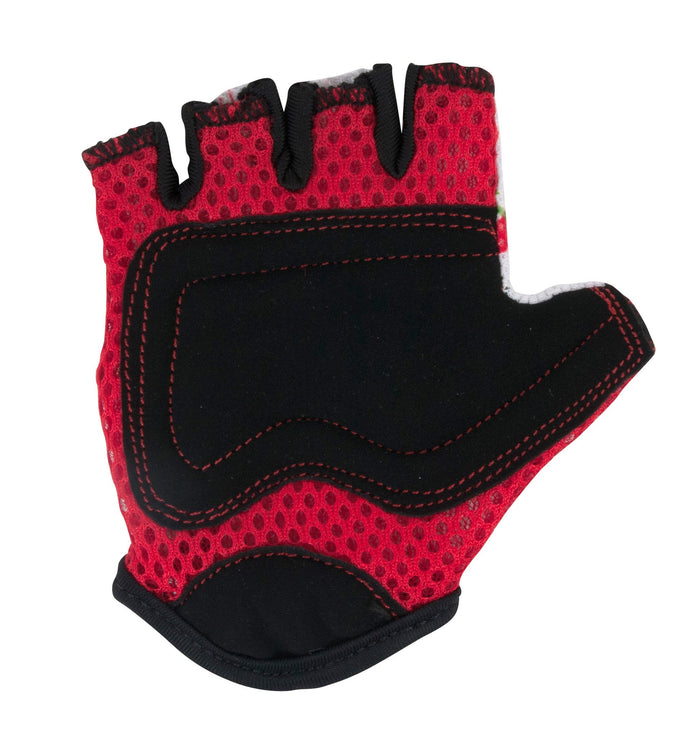 The padding on our Cherry gloves is a red mesh, with black faux suede for the palms for extra protection!