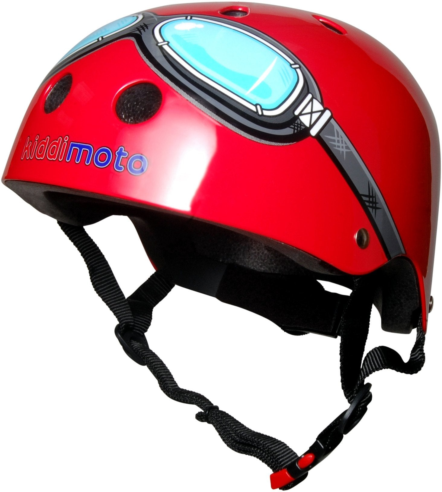 Our Red Goggle helmet features a grey pair of goggles with light blue lenses printed onto the helmet, with the Kiddimoto logo at the bottom