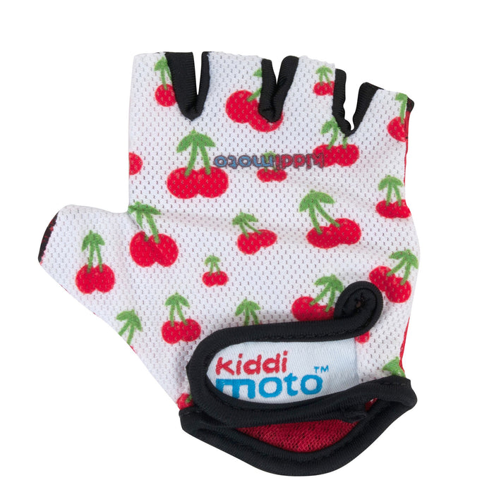 Our Cherry gloves feature a fun, simple print of red and green cherries on a white background