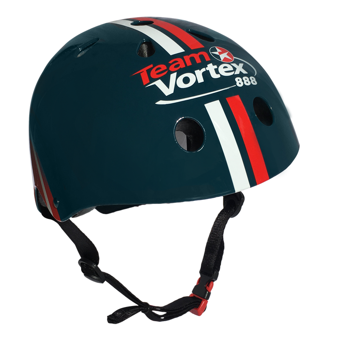 Our Team Vortex helmet features the Team Vortex logo on the front, with white and red stripes running along the middle of the helmet, on top of a navy teal helmet