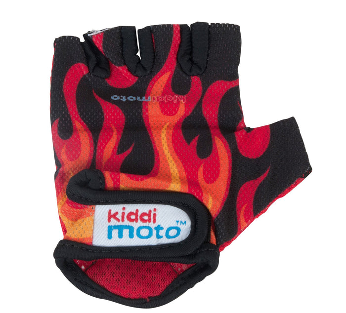 Our Flames gloves are lightweight, with a fingerless mesh design, and feature a flames print from the wrist to the knuckles