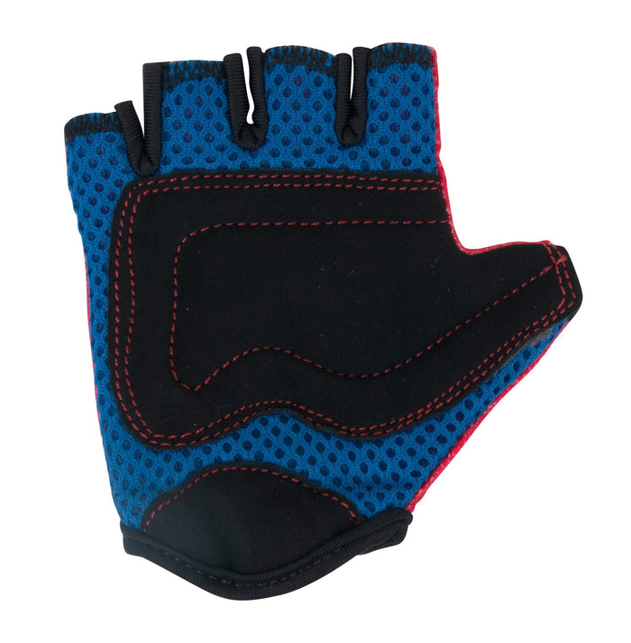 Our Red Kiddimoto gloves have blue mesh padding, with additional black faux suede padding on the palms for additional protection!