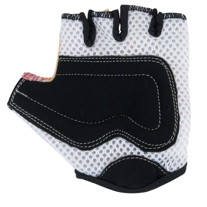 The padding on our Butterfly gloves is white mesh padding around the knuckles, and black faux suede around the palms for extra protection!
