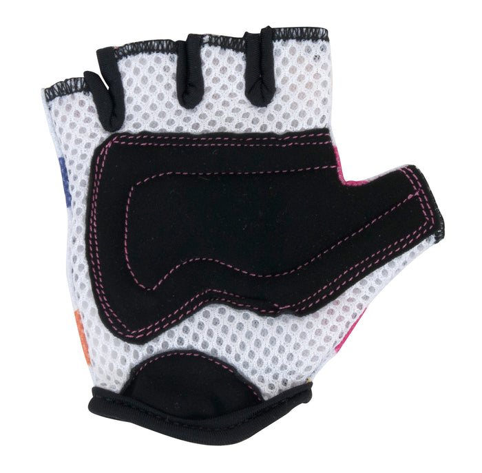 Our Pastel Dotty gloves have white mesh on the knuckles, as well as faux suede on the palms for added protection!