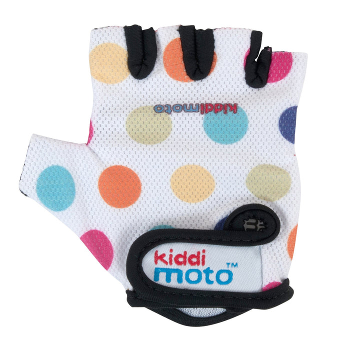 Our Pastel Dotty gloves are lightweight and fingerless, and feature rainbow polkadots on top of a white soft-mesh design