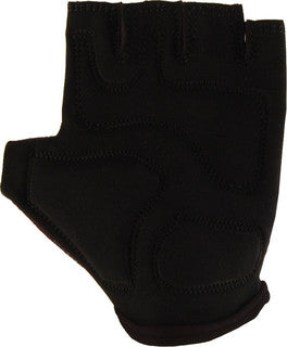 The textured black palm of our 8 Ball fingerless glove, with extra padding stitched into the palm